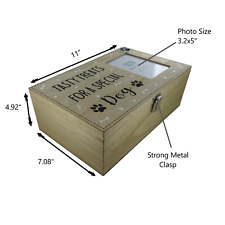 Dog Box & Photo Frame Treats Food Storage Container Holder Biscuits Barrel Wood