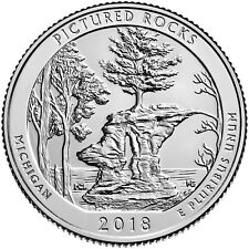 USA : 2 quarters Parcs Nationaux PICTURED ROCKS- 2018 P & D - NEUVES UNC