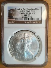 2013  Silver Eagle Struck SF Mint Early Releases MS70 NGC cable car label