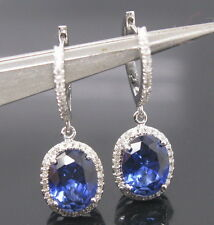 Solid 18K White Gold Natural Blue Sapphire Diamond luxury Engagement Earring