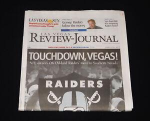 Raiders to Las Vegas LVRJ Full March 2017 Newspaper NFL Football Memorabilia NEW