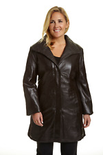 Excelled Women's Plus Lambskin Leather Walking Coat Brown 1X #NK8Q4-M819