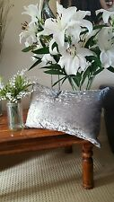 """NEXT ? Metallic marble OBLONG  SILVER Crushed Velvet 22in x 12""""  Cushion & Cover"""