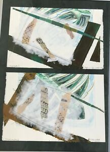 Canadian B.C. Artist Daphne Harwood Mixed Media Diptych Titled Fragments 1 & 11