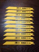 """10 Pack DeWALT 8"""" 18 Tpi Sawzall Blades Metal / Bi-Metal Reciprocating DW4821"""
