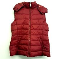 Chicoree Womens Bodywarmer Red Burgundy Quilted Puffer Gilet Size Large