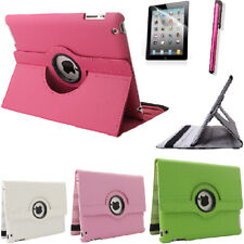 360 Rotating PU Leather Case Cover For iPad 2/3/4 With Screen Protector Stylus