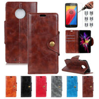 For Motorola Moto Mobiles Wallet Case Pouch Flip Phone Cover + Screen Protector
