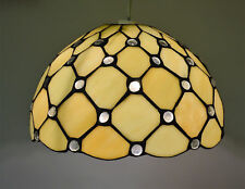 Tiffany Stained Glass Ivory Jewelled Ceiling Shade Antique Brass Suspension