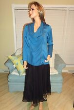 Women's gorgeous blue satin long sleeve blouse shirt top by Chadwicks sz 10