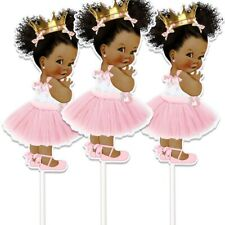Set of 3 Pink African American Princess Centerpieces Royal Baby