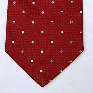 Andrew's Tie  Made in Italy Mens Tie SILK VTG 90s Red Polka dots design NICE