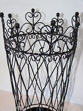 BEAUTIFUL FRENCH  black  paper basket  WROUGHT IRON NEW