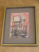 Vintage Retro Mid Century Abstract Still Life Watercolor Painting Signed Chang