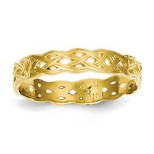 14KT Yellow Gold Irish Scottish Celtic Open Weave Style Band 4 MM Ring NEW