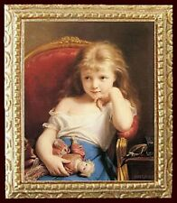 Girl Holding Her Doll Dollhouse Picture - Framed Miniature Art - Made In America