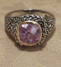Faceted Lavender Amethyst Crystal Silver 18 Kt GF Bezel Setting size 6 Ring New