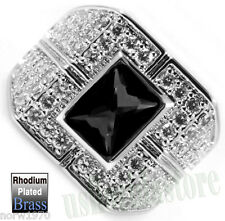 Black CZ Lot of Crystal Silver Rhodium Plated Ring Size 9