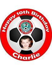 Personalised photo football team club badge edible icing birthday cake topper