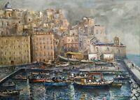 Quadro Dipinto Olio su tela firmato e autenticato 1952 Marina di Pozzuoli Napoli