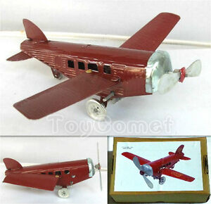 C-3 Red Folding Wing Airplane Plane Retro Clockwork Wind Up Tin Toy w/Box