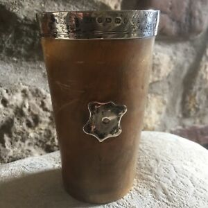 Victorian Sterling Silver Rimmed Horn Beaker