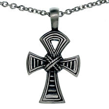 Knoted Ankh Egyptian Cross Key of Life Pewter Pendant Stainless steel Necklace