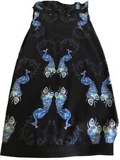 Retro Vintage Inspired Peacock Print Halter Neck Wiggle Dress By Collectif Sz8
