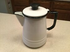 Vintage Enamelware Coffe Pot Hinged 8.5Tall White Black Trim Very Nice Cond.