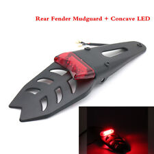 NEW Rear Fender Mudguard + Concave LED Tail Brake Turn Signal Light Motorcycle