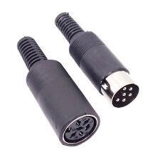 US Stock 1pair DIN Plug Male Jack Female Connector W/ Black Plastic Handle 6 PIN