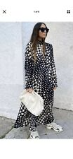 Bnwt H&M Trend Dress Stand Up Collar Dogtooth Midi Maxi Small  Bloggers Floaty