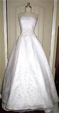 WHITE DAVIDS BRIDAL WEDDING GOWN! LONG TRAIN, PEARL SPAGHETTI STRAP, FLORAL SZ 6