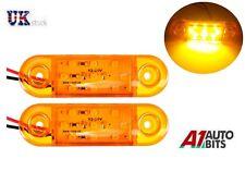 2x Orange Amber 24v 9 Led Side Marker Indicator Lights For Man Daf Scania Volvo