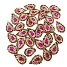 Magenta Acrylic Stone Applique Tear Shape Metallic Motif Sequin Patch Sew 10 Pc
