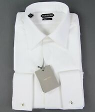 New $820 Tom Ford White Tuxedo Shirt Custom Slim Fit Size 17.75 45 NWT