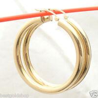 "4mm X 40mm 1.5"" Plain Shiny Hoop Earrings REAL 10K Yellow Gold FREE SHIPPING"