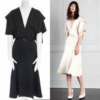 VICTORIA BECKHAM black silk satin fluid kimono v midi dress 8 10 s Net a Porter