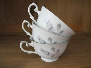 Yamaka Nocturne COFFEE or TEA CUP Set of 3 Black Gray Roses with Platinum Trim