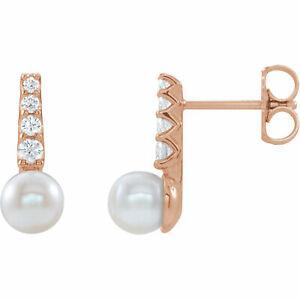 Freshwater Cultured Pearl & 1/6 CTW Diamond Earrings In 14K Rose Gold