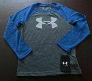 NWT Under Armour Boys Youth UA Big Logo LS Shirt Gray Blue Size 7 UAFEA30E
