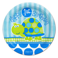 TURTLE 1st Birthday SMALL PAPER PLATES (8) ~ First Party Cake Dessert Blue Green