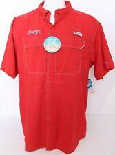 NEW Atlanta Braves MLB Red Columbia PFG Omni-Shade Low Drag SS Shirt Men's L