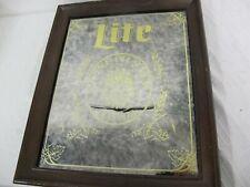 """Vintage Framed Mirror Miller Lite Fine Pilsner Beer 18"""" X 15"""""""