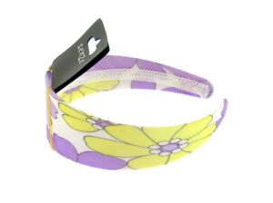 Ladies wide headband in lemon and lilac flower 5cm wide (g)