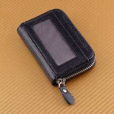 Men Wallet Credit Card Holder Genuine Leather RFID Blocking Zipper Pocket Black