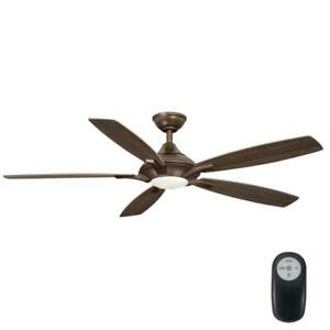 Petersford 56 in. Integrated LED Indoor Oil Rubbed Bronze Ceiling Fan with Light