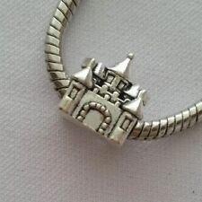 Castello Principessa European Charm con rosa regalo sacchetto-Tono Argento