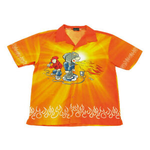 Vintage Hip-Hop Flame Shirt | Small | Festival Button Y2K 90s Graphic Retro