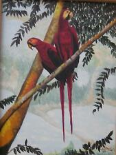 A PAIR OF PARROTS, OIL ON CANVAS PAINTING - with WOOD FRAME - XYZ